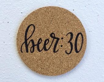 Cork coaster, custom coaster, personalized coaster, hand lettered coaster