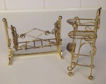 Vintage brass dollhouse furniture