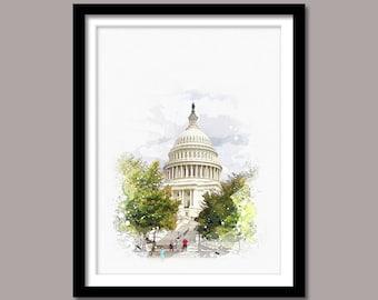 United States Capitol print, United States Capitol Digital print, Landmark Printable Art, US Capitol Digital Download, Watercolor Painting
