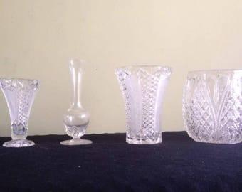 4 x Unique Glass Vases / Vase Vintage Bling