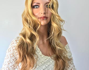 Malibu Blond Waves  Human Hair Blend Multi Parting Lace Front Wig -e1048