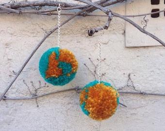Teal + Mustard Pom Pom Earrings