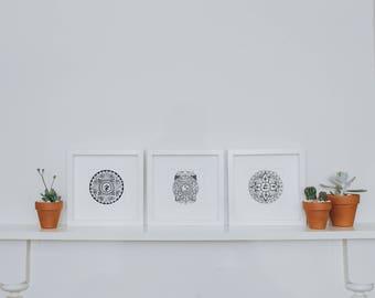 Set of 3 Mandala Prints