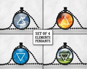Element Sign Pendants Set of Four - Air Fire Water and Earth Element Necklaces - Element jewelry - A1-4