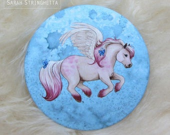 Pocket mirror with Red satin - Creamy Pony - winged pony