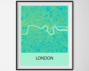 London Map Poster Print - Blue and Yellow