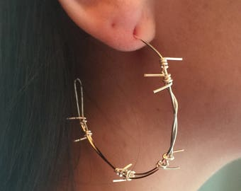 Small silver barbed wire hoop earrings