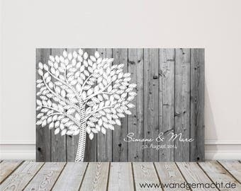 "wedding fingerprint tree guestbook wedding confirmation ""Birch"" on canvas"
