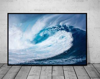 Ocean Print, Waves Print, Ocean Waves Photography, Water Wall Art Print, Black-White-Blue Photo, Printable Poster, Digital Download, 3 JPG's