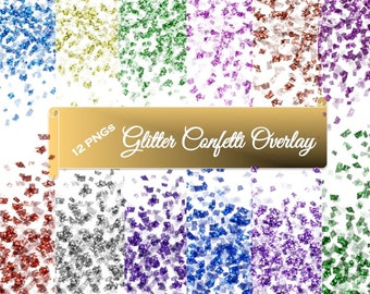 Glitter Confetti Overlay Pink Purple Blue Green Red Gold Silver and more wedding invitations party scrapbooking transparent background