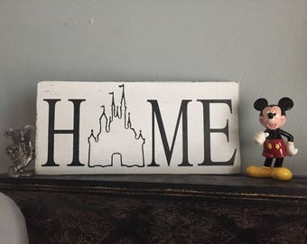 Disney castle Home sign/Wood signs/distressed signs/farmhouse decor