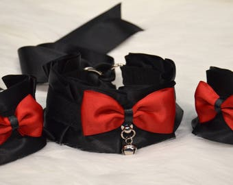 BDSM/DDLG/Kitten Play Collar and Cuff Set Tug Proof Play Proof