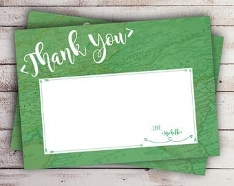 Travel Map Thank You Card, Love is the Greatest Adventure, Bridal Shower Thank You Card, Green, Custom (Printable)