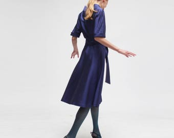 MAX MARA wrap dress/ midi tea dress / three-quarter sleeves/ 100% silk /made in italy