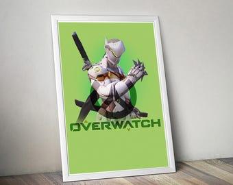 Overwatch Genji Poster, Game Poster, Flat Print Design, Digital Printable Poster, Blizzard wall art, Instant Download, game art
