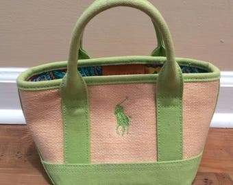 Adorably Petite Ralph Lauren Bag -- Preppy Lime Green Canvas and Woven Straw