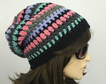 Women Crochet Hat Women Slouchy Hat Multicolor Hat Women Accessories Fall Fashion