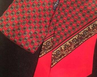 Vintage Ginnie Johansen 100% Silk Ascott / thin Scarf /  Hair Tie in bright vivid colors