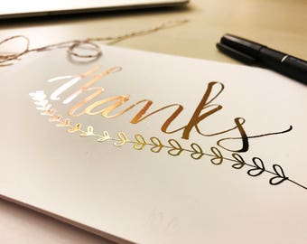 Thanks Rose Gold Foil Card /Thank You Print