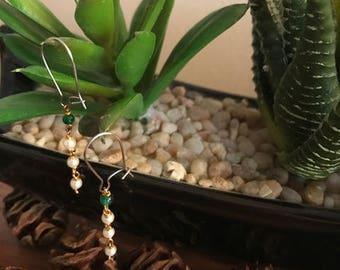 Faux Seed Pearl Wire Earrings