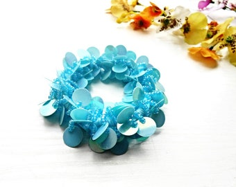 Hair Scrunchie Light Blue Sequins Glass Seed Beads Cotton Embroidery Ponytail Holder Glass Pearl Accessory Pony Tail Wrap Hair Ties Elastic