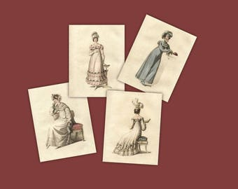 Collection of 4 Regency Prints Jane Austen Home Collection Old Fashioned