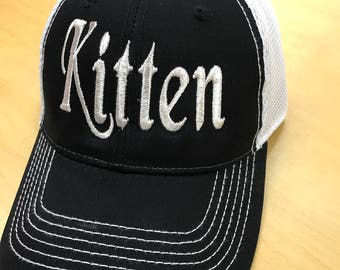 Kitten Metallic Thread Embroidered Trucker Cap, DDLg,  BDSM, Fetish, Sub, Dom