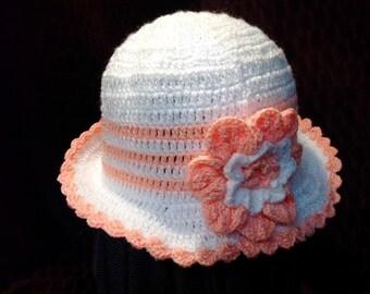 Girls white and peach crochet hat