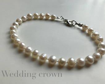 Freshwater Pearl Bracelet 925 Sterling Silver Wedding Bracelet
