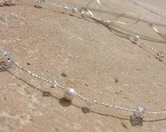 Handmade Bridal Wedding Hair Vine made with Freshwater Pearls and Swarovski AB Crystals Tiara Halo