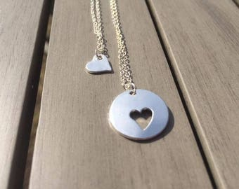 Silver Dipped Mother and daughter necklace two heart necklaces gift Mum pendant Small shape love mother's day