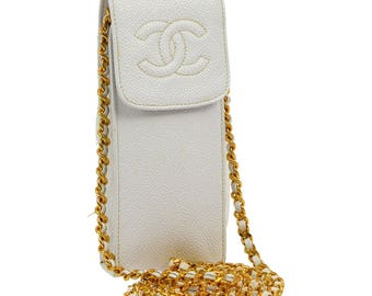 Chanel Vintage Authentic CC Logo Chain Shoulder Bag Phone Case Cross Body Purse White Gold Caviar Leather YG00893