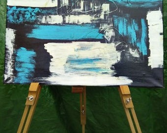 blue,white and black canvas abstract