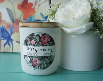 Scented Soy Candle/'MAID OF HONOR'/ Lavender/Handpoured/Bridal favor