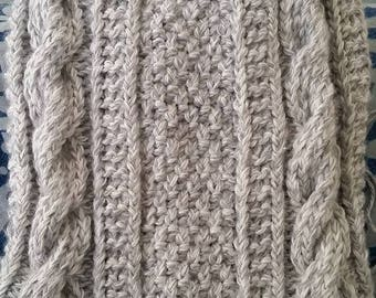 Gray Cable Knit Baby Blanket