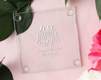 Personalized Wedding Glass Coasters (set of 12)