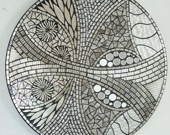 Silver Stained Glass Mosaic Lazy Susan