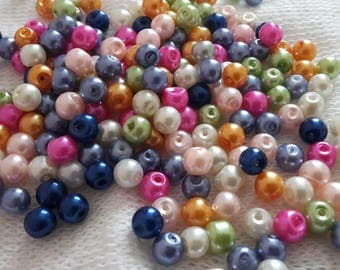 Lovely Glass Faux Pearl Beads 6mm Assorted Colours Round x 100