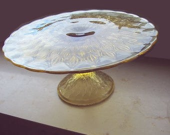 Vintage - 70's glass - cake plate