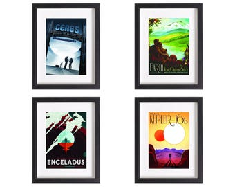 NASA Visions Future vintage print collection | 4 artwork prints | Use in IKEA frame | Looks great framed for gift | Free Shipping | #3