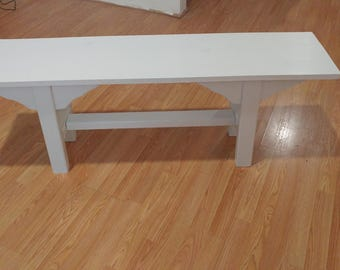 Vintage White Wooden Bench