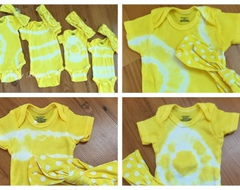 Tie dyed onesies newborn and 12 months. Bright yellow with matching headband