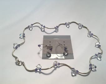 Swarovski crystal and silver necklace and matching earings