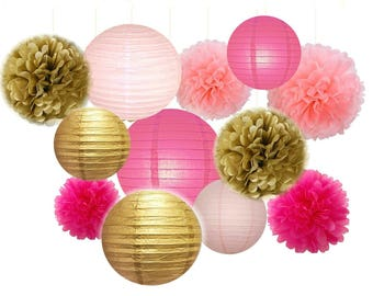 Set of 12 Mixed Gold Pink Fuchsia Party Tissue Pom Poms Pompoms Paper Lantern Baby Shower Birthday Wedding Hanging Decoration