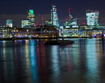 Night London Millennium Bridge River Thames Photo to print Wall Art
