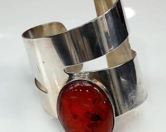 Sterling Silver Oval Amber Unique Modern Designed Cuff Bracelet