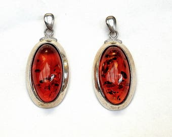 Sterling Silver Oval Cut Amber Unique Design Dangling Earrings