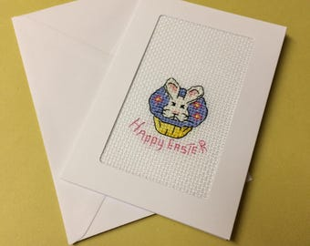 """Easter Bunny Cupcake """"Happy Easter"""" Cross Stitch Greetings Card"""
