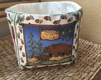 Fabric Basket, Organizer, Country, Nature Basket, Handmade