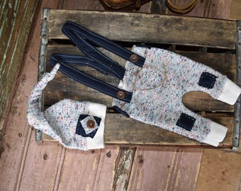 The Drew -Photography prop boys-suspenders-night cap-blue-multi color- jersey-set-newborn ready to ship